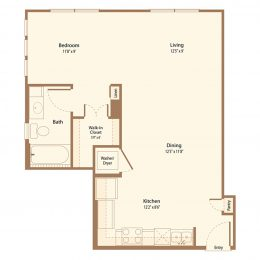 One Bedroom Floor Plan A1D
