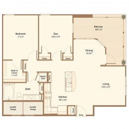 One Bedroom with Den Floor Plan A1H