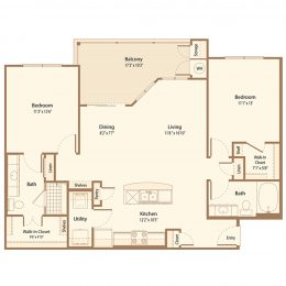 Two Bedroom Floor Plan B2A